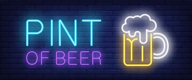 Pint van bier neon stijl banner