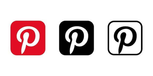 Pinterest-pictogramreeks. redactioneel beeld. vinnitsia, oekrane. 24 augustus 2021