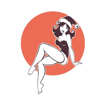 Pinup marry christmas and happy new year girl image