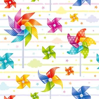 Pinwheel speelgoed naadloze patroon kleurrijke afbeelding