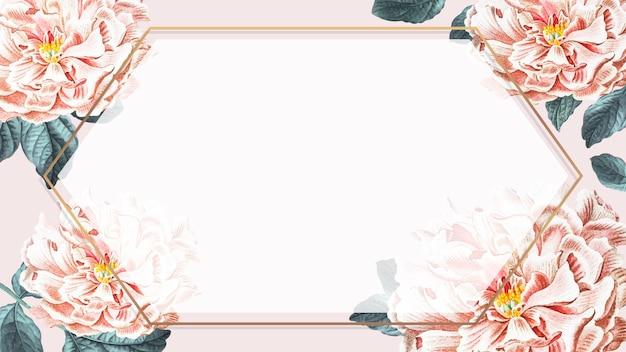 Pioen gouden zeshoek frame achtergrond vector