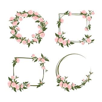 Pioen krans. schattige roze bloemen en bladeren kaderset