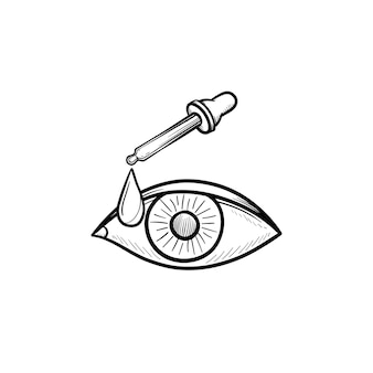 Pipet en oog hand getrokken schets doodle icon