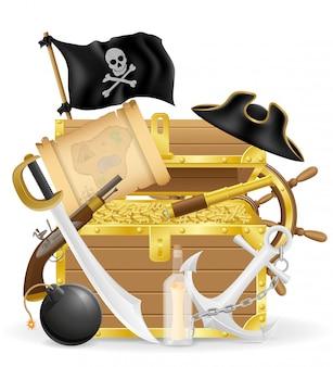 Piraat concept elementen vector illustratie