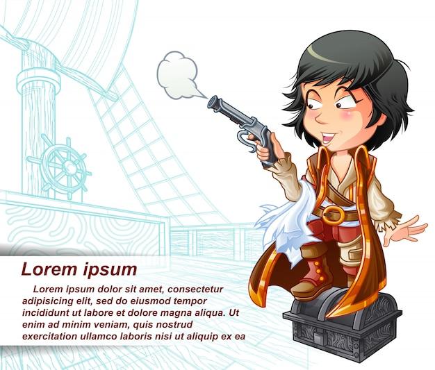 Piraat draagt een pistool in geschetst piratenschip.