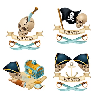 Piraat elementen met schedel en messen.