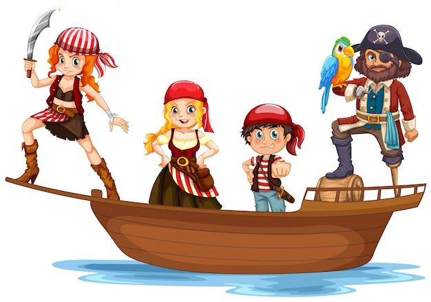 Piraat en bemanning op houten schip