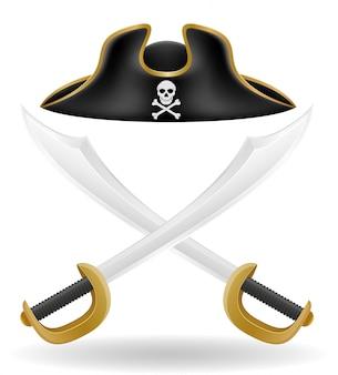 Piraat hoed tricorn en zwaard vectorillustratie