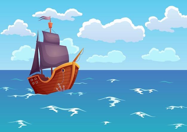Piraat houten schip in oceaan. reclame voor tropisch zeelandschap met antieke zeilboot.