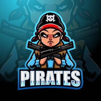 Piraat jongen esport mascotte logo ontwerp