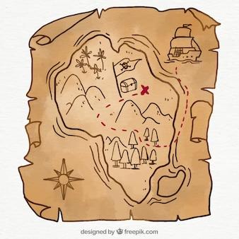 Piraat kaart met schat in handgetekende stijl