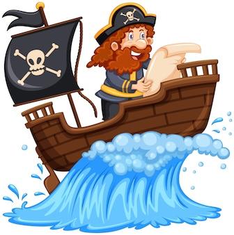 Piraat lezen kaart op schip