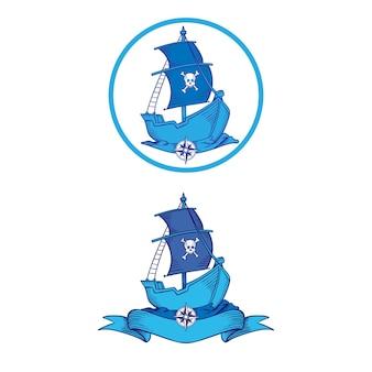 Piraat logo ontwerp met de hand getekend