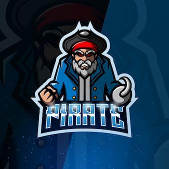 Piraat mascotte esport illustratie