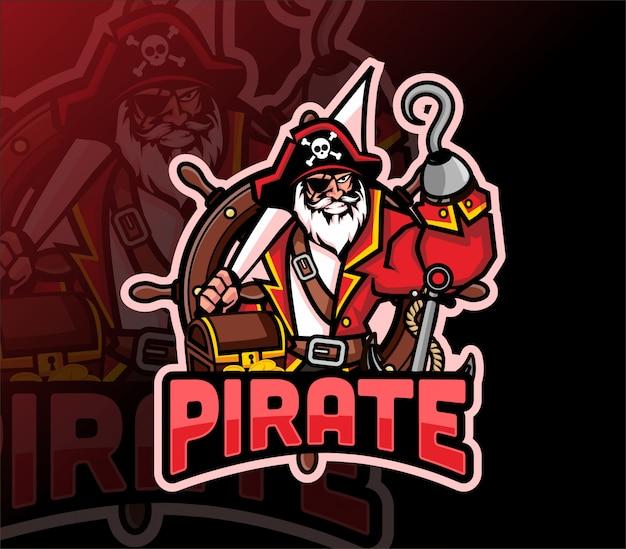 Piraat mascotte esport logo ontwerp