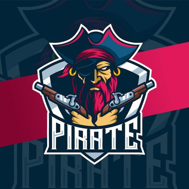 Piraat met geweren mascotte esport logo-ontwerp