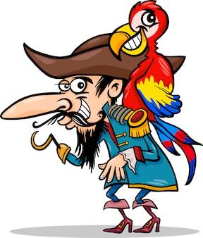 Piraat met papegaai cartoon illustratie
