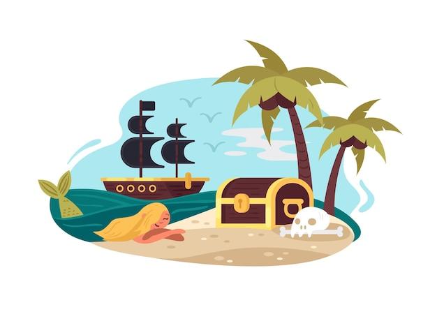 Piraat onbewoond eiland met palmboom, zeemeermin en kist. vector illustratie