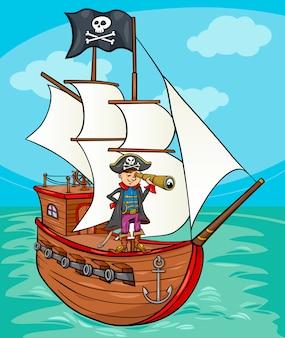 Piraat op scheepsbeeldverhaalillustratie