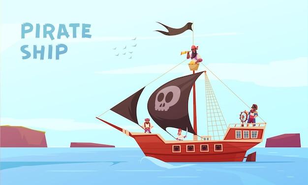 Piraat openluchtsamenstelling met de picaroonzeevaarder van de beeldverhaalstijl op zee met editable teksten