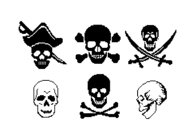 Piraat pixelart jolly roger skull zeerover