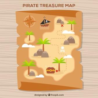Piraat schatkaart in plat ontwerp