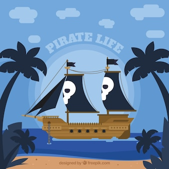 Piraat schip achtergrond in plat ontwerp