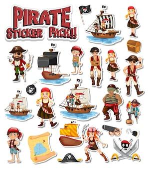 Piraat stickerpakket set met stripfiguur geïsoleerd