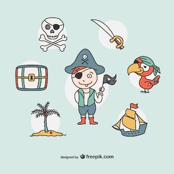 Piraat tekening iconen collectie