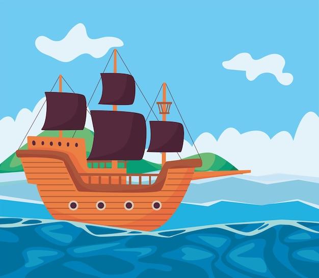 Piraat zeegezicht scène