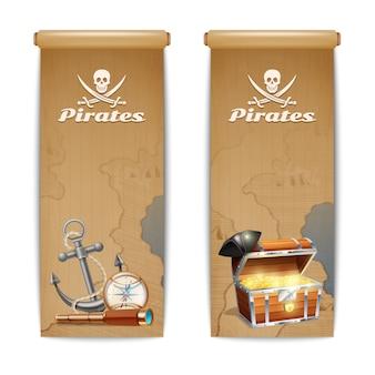 Piraatbanner met retro geïsoleerde die schatjachtsymbolen wordt geplaatst