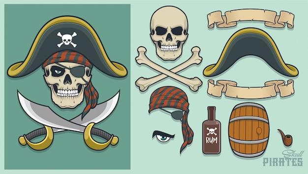 Piraatelementen voor het maken van mascotte en logo