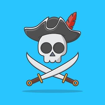 Piraatschedel met hoed en gekruiste zwaarden pictogram illustratie. piraat embleem