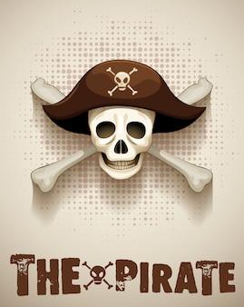 Piraatthema met piraatschedel