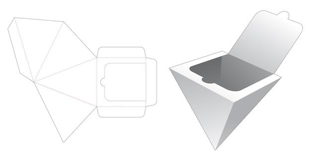 Piramide doos met gestanste sjabloon met ritssluiting aan de onderkant