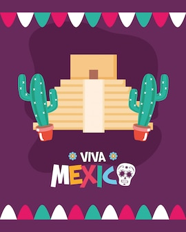 Piramide en mexicaanse cactus