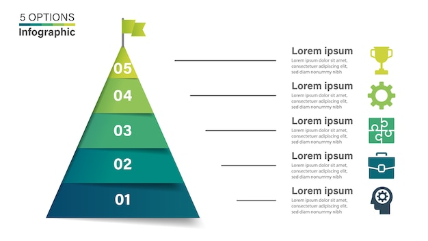 Piramide infographic sjabloon met 5 opties.