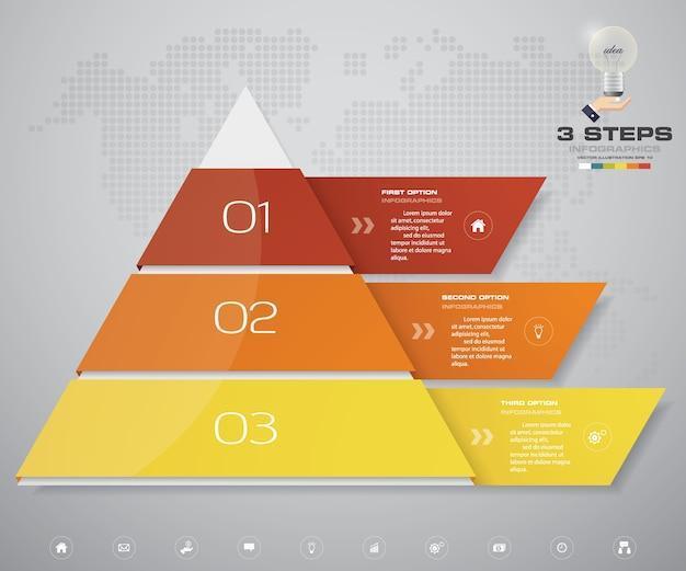 Piramide met 3 stappen met vrije ruimte voor tekst op elk niveau.