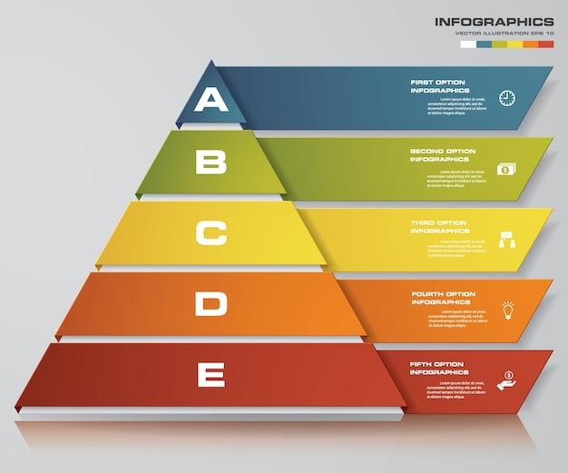 Piramide met 5 stappen met vrije ruimte voor tekst op elk niveau.