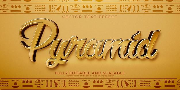 Piramide-teksteffect; bewerkbare egypte en oude tekststijl