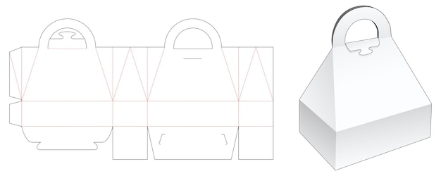 Piramide topkoffer met handvat gestanst sjabloon