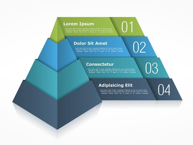 Piramidediagram met vier elementen