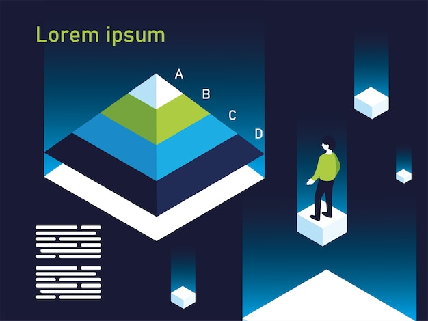 Piramidegrafiek infographic met man ontwerp, gegevensinformatie en analyse thema illustratie