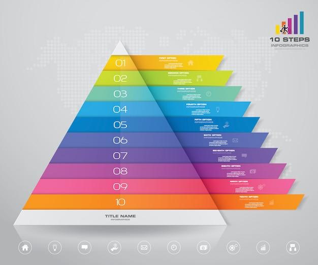 Piramidegrafiek met vrije ruimte voor tekst op elk niveau.