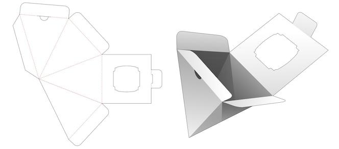 piramidekist met geopende punt aan de onderkant en gestanste sjabloon voor een etalage