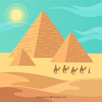 Piramidelandschap met caravan