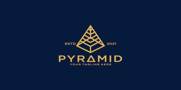 Piramideontwerpinspiratie met lijnstijl en visitekaartjesjabloon