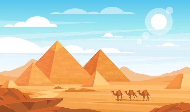 Piramides in woestijn vlakke afbeelding. egyptische landschap panoramische cartoon achtergrond. bedoeïenen kamelen caravan en bezienswaardigheden van egypte. afrikaanse natuur. dieren en zandduinen.