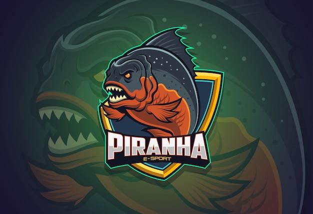 Piranha esport logo-ontwerp