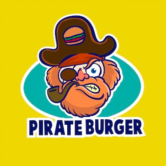 Pirate hamburger mascotte logo